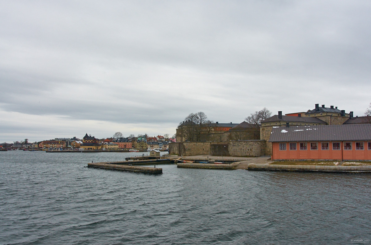 Vaxholm castle and city in the background